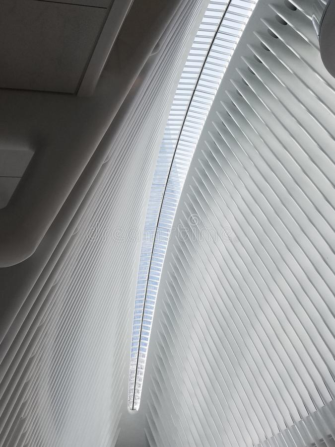 Intérieur du hub de transport de la station WTC de World Trade Center Plafond de la maison de station principale, l'Oculus manhat photo stock