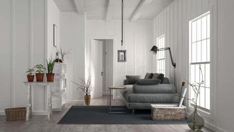 Intérieur en bois blanc rustique confortable de salon illustration stock