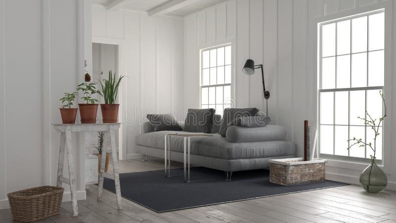 Intérieur en bois blanc rustique confortable de salon illustration de vecteur