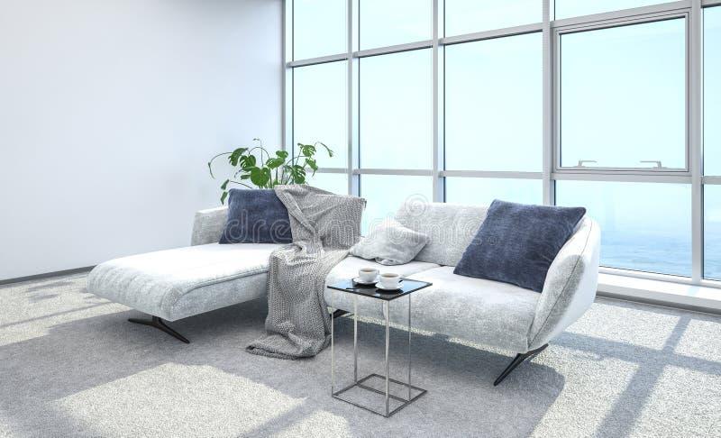 Intérieur et sofa lumineux de salon d'appartement terrasse illustration stock