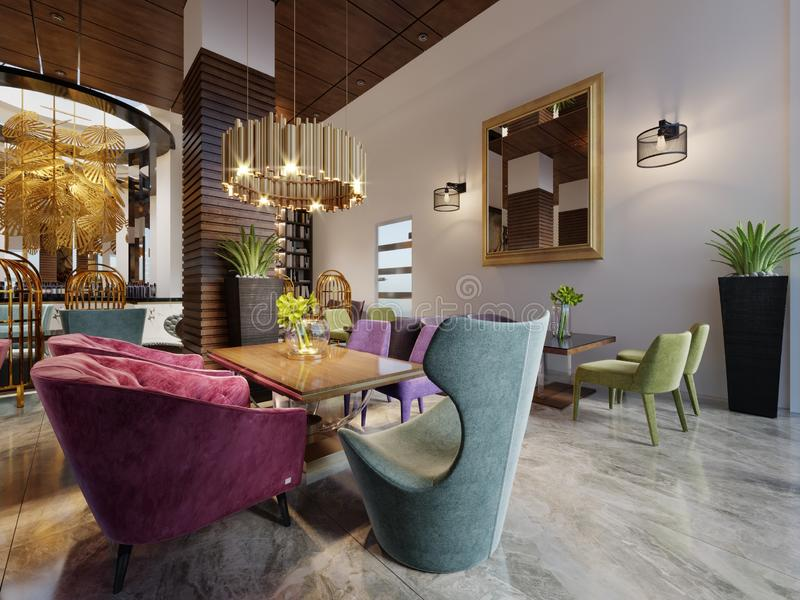 Intérieur européen moderne de luxe de café de conception dans le centre ville avec les meubles colorés illustration de vecteur
