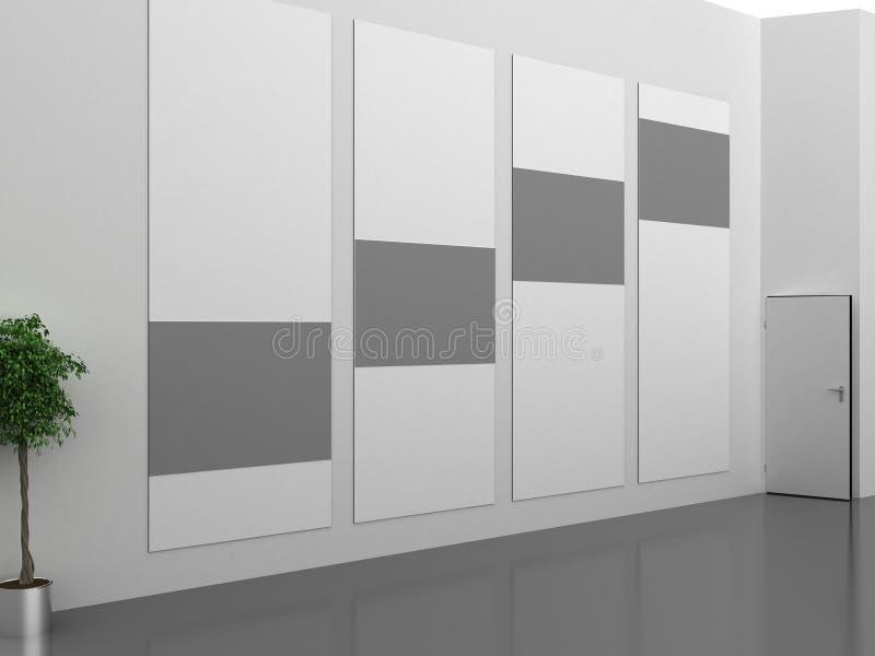 Intérieur foncé de galerie avec le cadre vide sur le mur illustration libre de droits