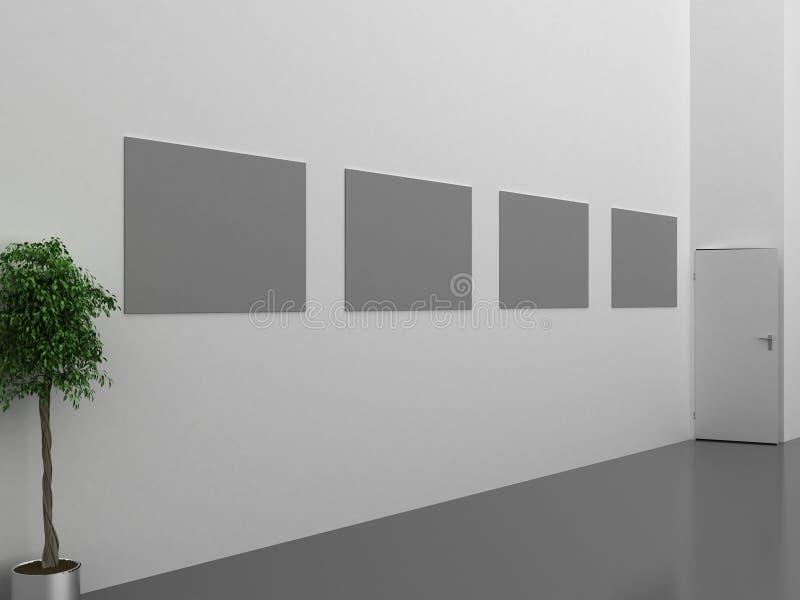 Intérieur foncé de galerie avec le cadre vide sur le mur illustration de vecteur