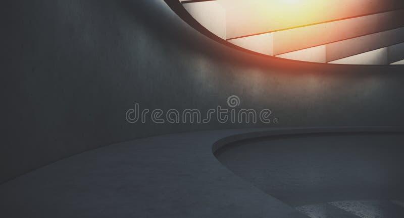 Intérieur foncé futuriste et moderne avec les murs et le plancher vides de concret Concept de conception int?rieure et d'architec illustration libre de droits
