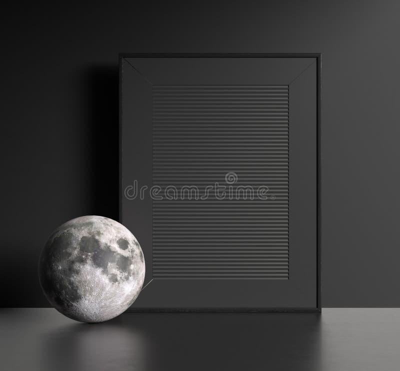 Intérieur foncé moderne avec le cadre de tableau noir photos stock