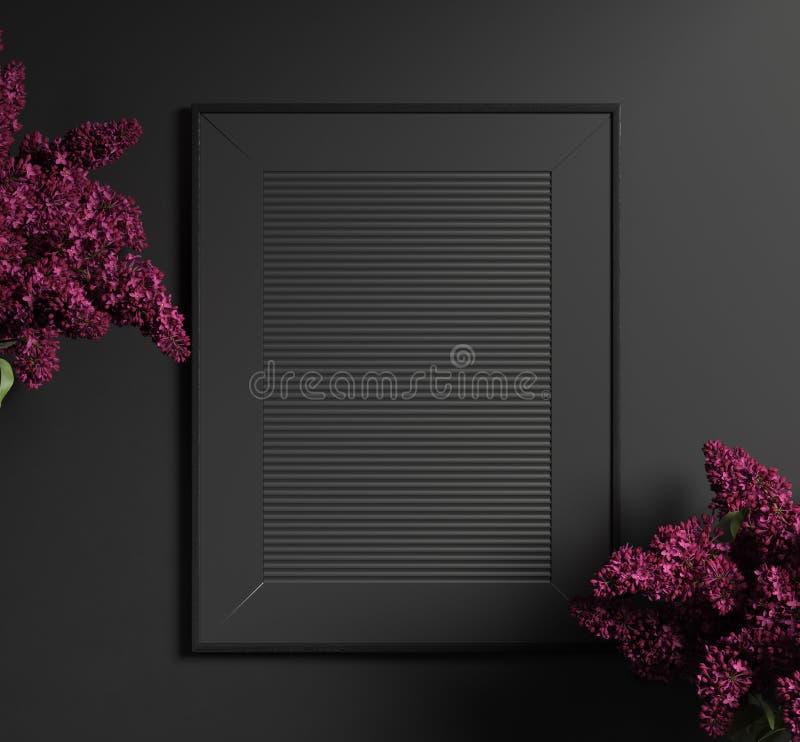 Intérieur foncé moderne avec le cadre de tableau noir photo libre de droits