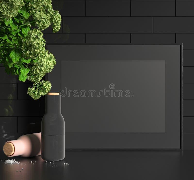 Intérieur foncé moderne avec le cadre de tableau noir images stock