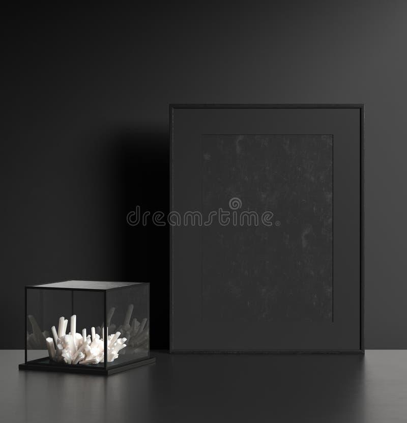 Intérieur foncé moderne avec le cadre de tableau noir image stock