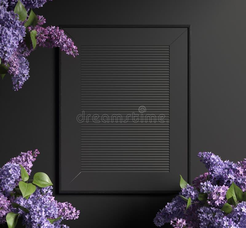 Intérieur foncé moderne avec le cadre de tableau noir photographie stock libre de droits