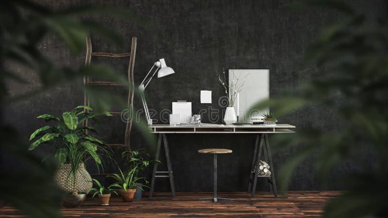 Intérieur foncé moderne de bureau avec le bureau de chevalet illustration de vecteur