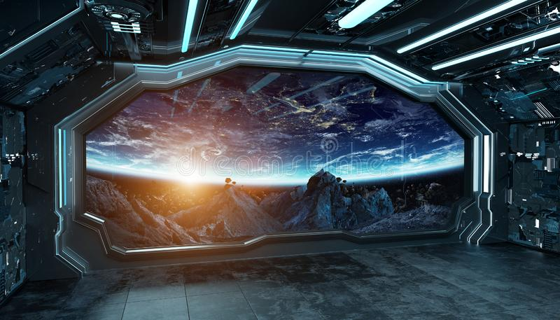 Intérieur futuriste de vaisseau spatial bleu-foncé avec la vue de fenêtre sur le rendu de l'espace et des planètes 3d illustration de vecteur
