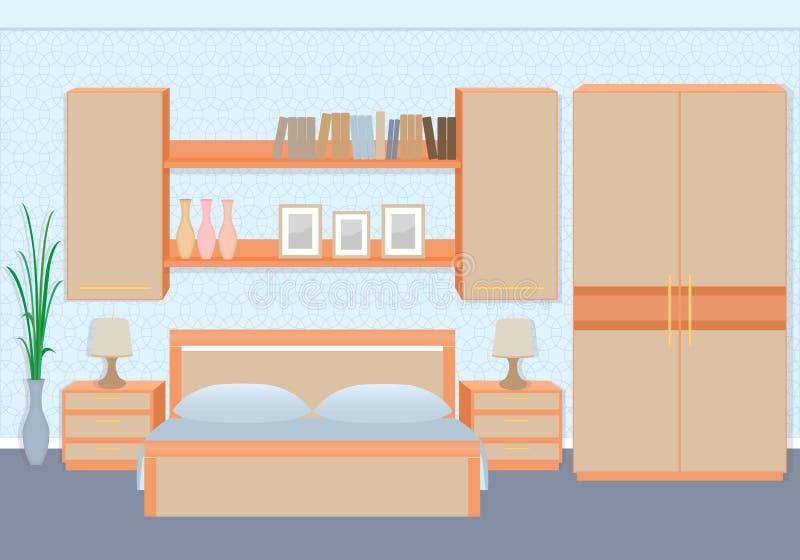 Intérieur gracieux de chambre à coucher avec des meubles, étagères, photoframes illustration libre de droits