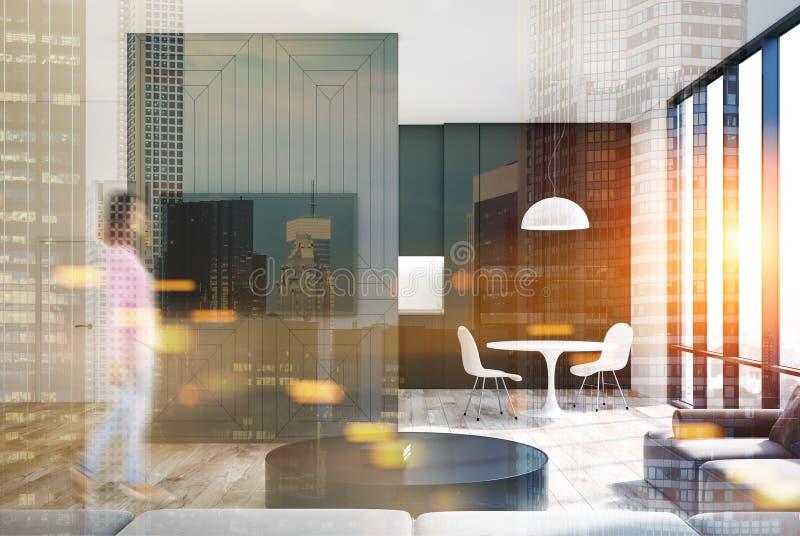 Intérieur gris de salon, poste TV, cuisine modifiée la tonalité illustration libre de droits