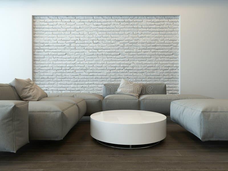 Intérieur gris moderne tranquille de salon illustration de vecteur
