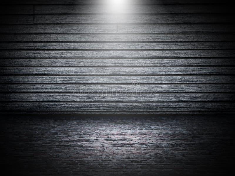 intérieur grunge de la pièce 3D avec le mur et le plancher en bois de pierre illustration stock