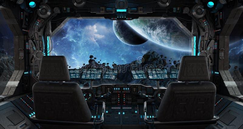 Intérieur grunge de vaisseau spatial avec la vue sur l'exoplanet illustration libre de droits