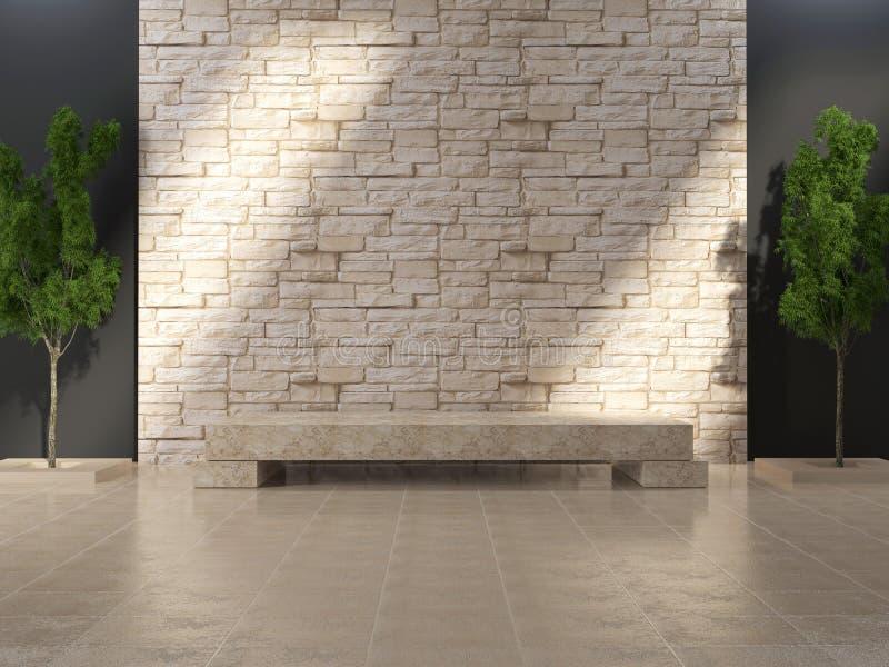 Intérieur grunge moderne avec le banc de marbre. illustration de vecteur