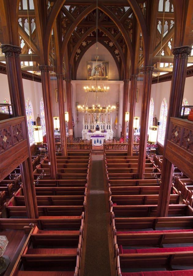 Intérieur historique d'église images libres de droits