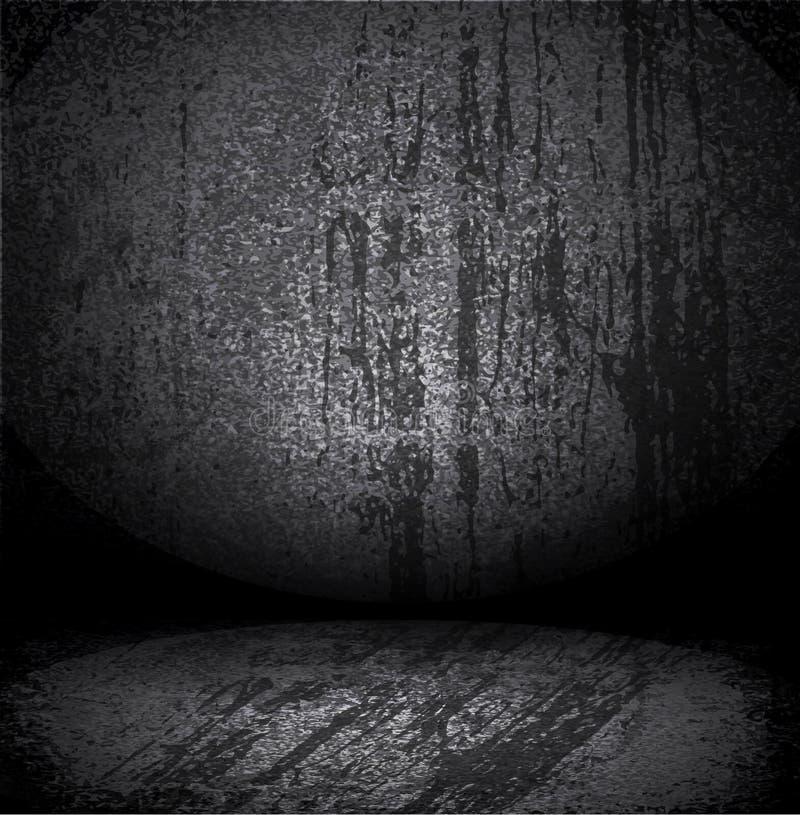 Intérieur intérieur noir sale de vecteur vieil illustration stock