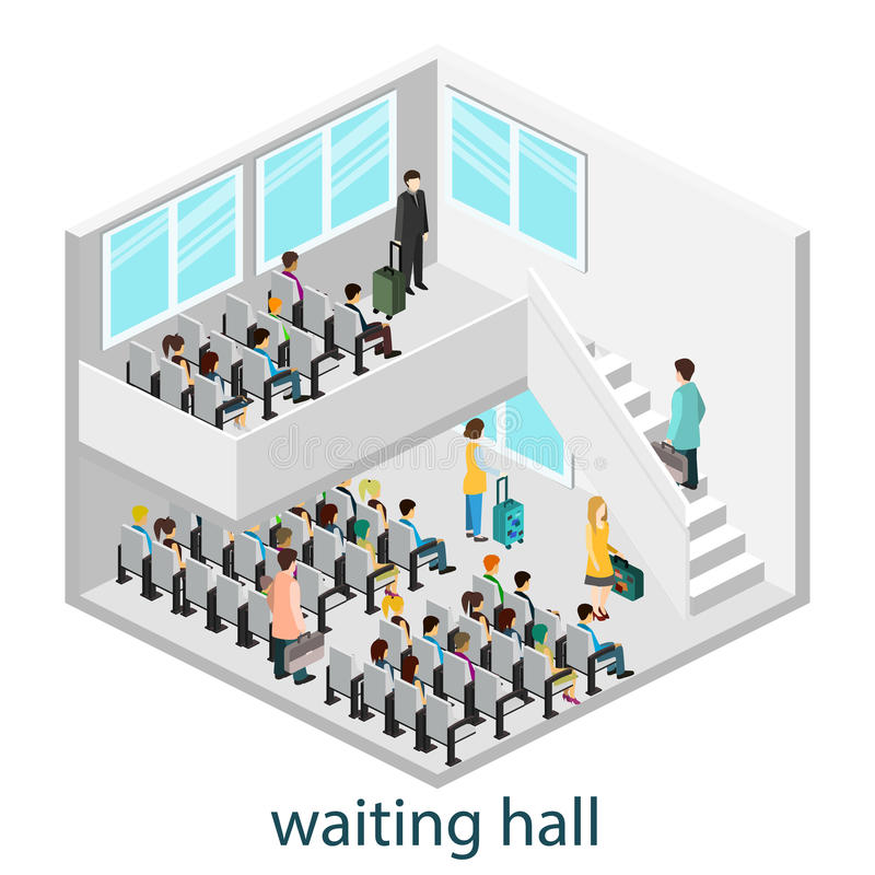 Intérieur isomérique de hall de attente dans le hall ou la gare ferroviaire de attente illustration de vecteur