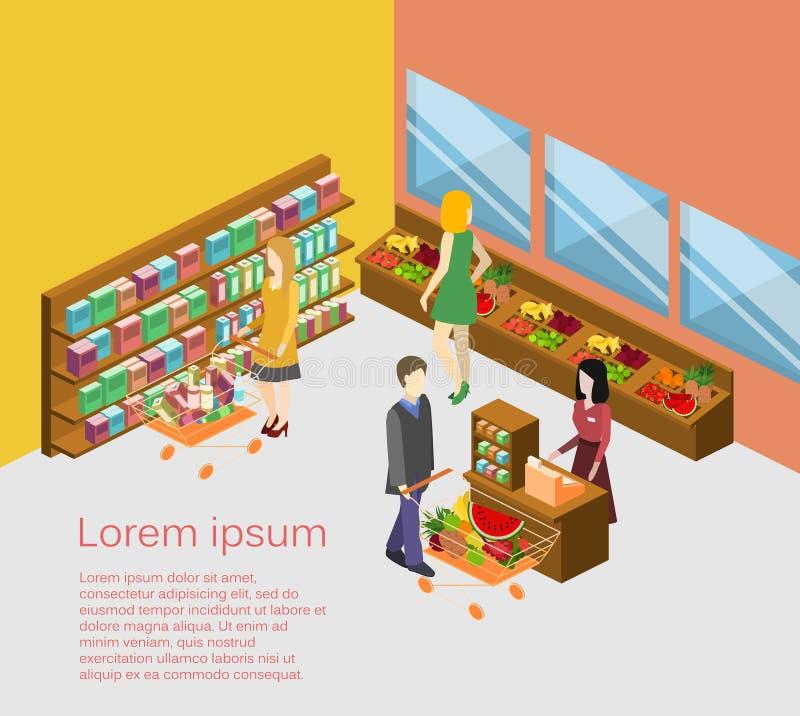 Intérieur isométrique d'épicerie Illustration 3d plate de centre commercial illustration libre de droits