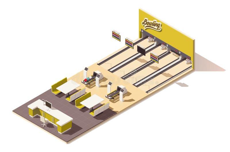 Intérieur isométrique de bowling de vecteur bas poly illustration libre de droits