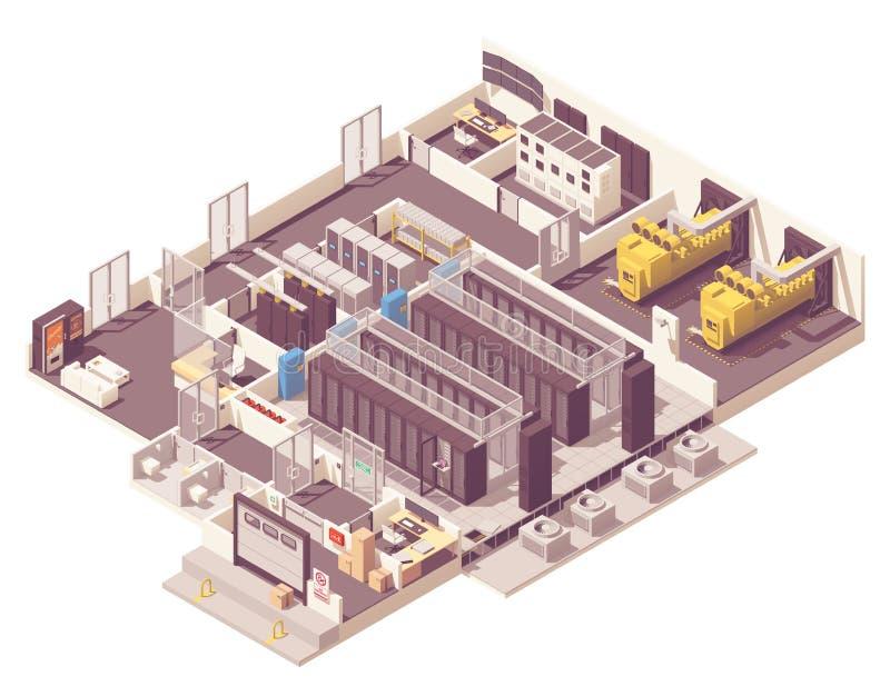 Intérieur isométrique de centre de traitement des données illustration de vecteur