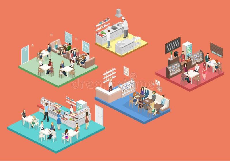Intérieur isométrique de cuisine de doux-boutique, de café, de cantine et de restaurant illustration de vecteur