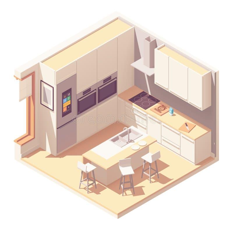Intérieur isométrique de cuisine de vecteur illustration de vecteur
