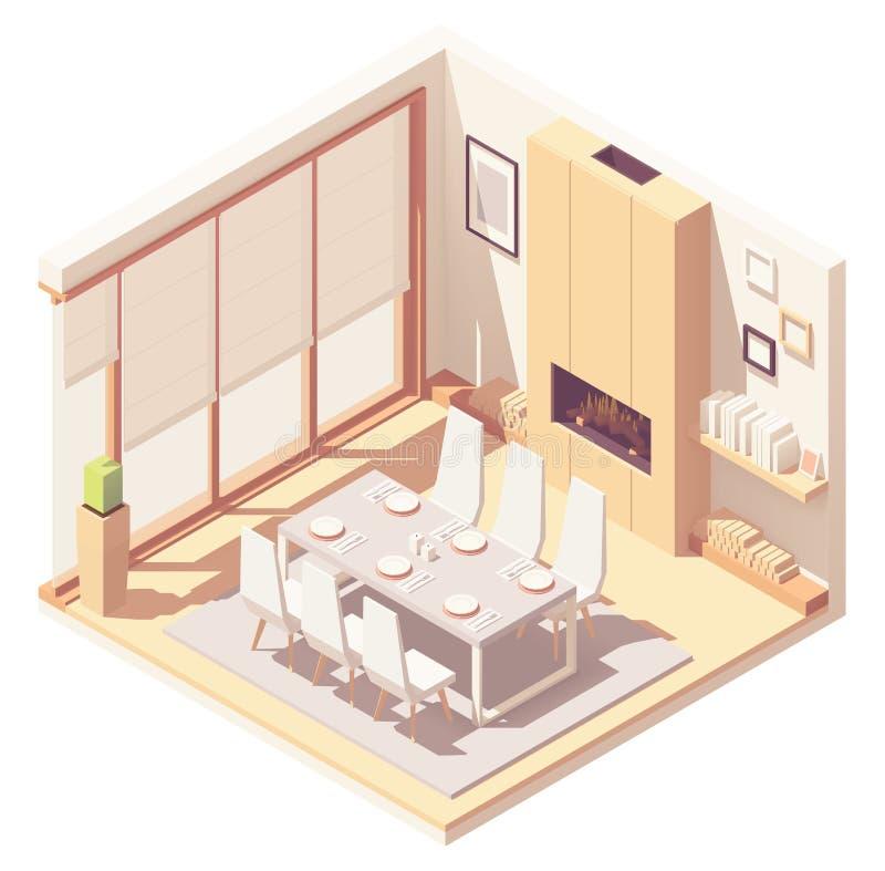 Intérieur isométrique de salle à manger de vecteur illustration stock