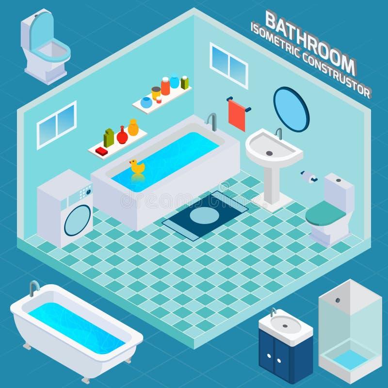 Intérieur isométrique de salle de bains illustration stock