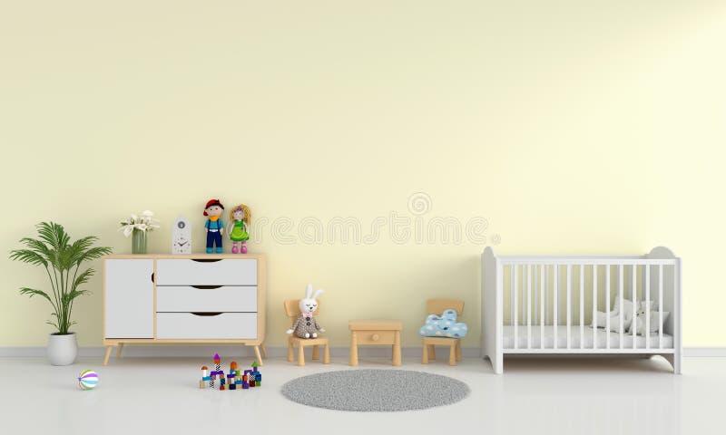 Intérieur jaune de chambre à coucher d'enfant pour la maquette, rendu 3D illustration libre de droits