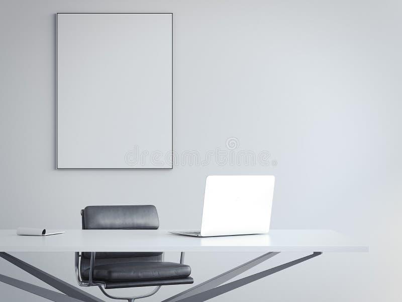 Intérieur lumineux de bureau avec le lieu de travail et le cadre de tableau rendu 3d illustration libre de droits