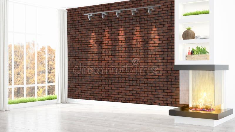 Download Intérieur Lumineux Moderne Rendu 3d Illustration Stock - Illustration du gris, brique: 87700090