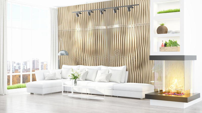 Download Intérieur Lumineux Moderne Rendu 3d Illustration Stock - Illustration du décor, blanc: 87700224
