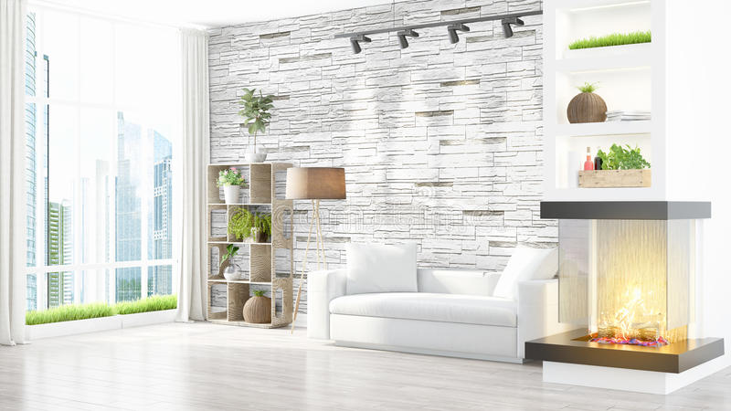 Download Intérieur Lumineux Moderne Rendu 3d Illustration Stock - Illustration du vert, étage: 87700328
