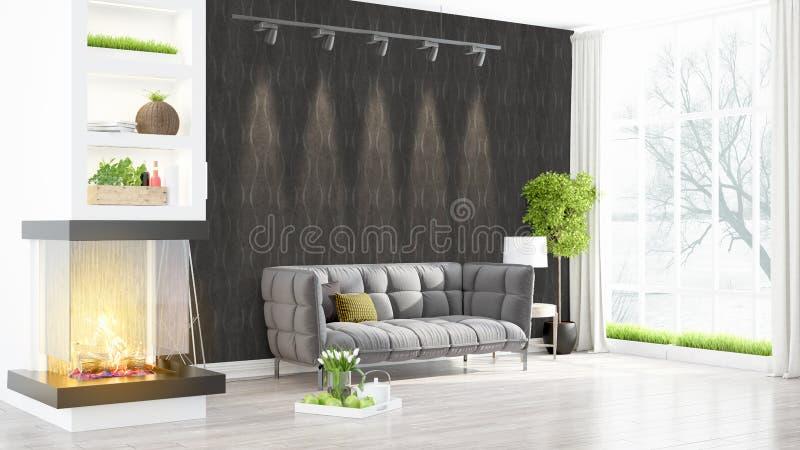 Download Intérieur Lumineux Moderne Rendu 3d Illustration Stock - Illustration du divan, concept: 87700539