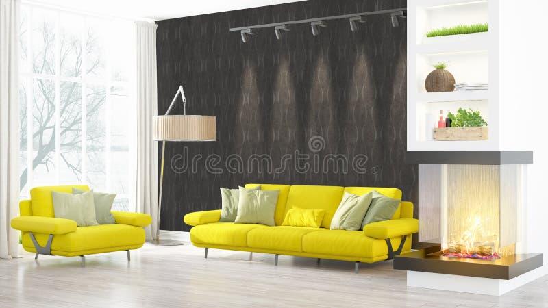 Download Intérieur Lumineux Moderne Rendu 3d Illustration Stock - Illustration du home, décoration: 87700635