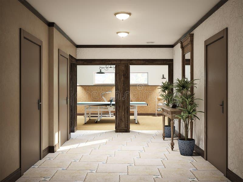 Intérieur méditerranéen de style de sous-sol spacieux de Hall illustration stock