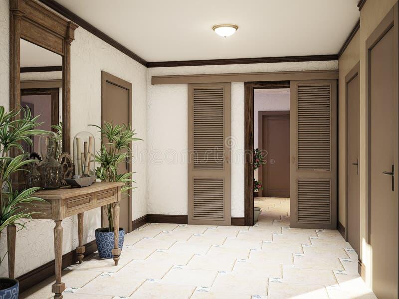 Intérieur méditerranéen de style de sous-sol spacieux de Hall illustration libre de droits