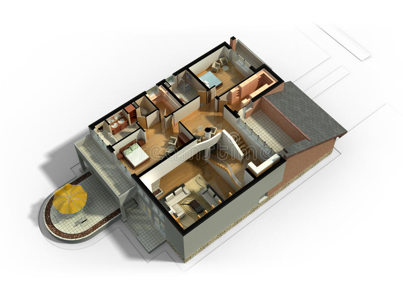 intérieur meublé par 3D de Chambre images stock