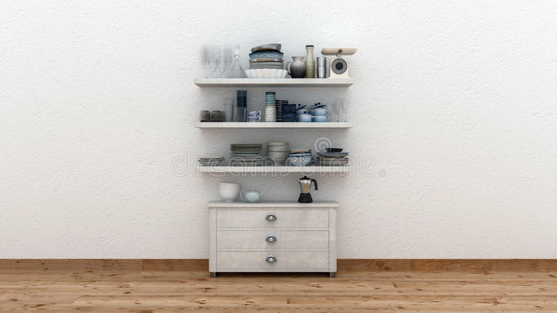 Intérieur minimaliste de cuisine avec le coffret illustration libre de droits
