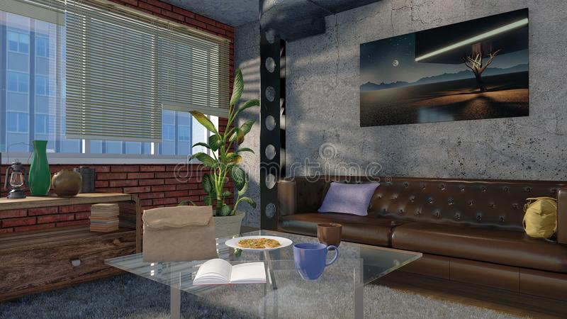 Intérieur minimaliste moderne de salon dans le grenier 3D photo stock