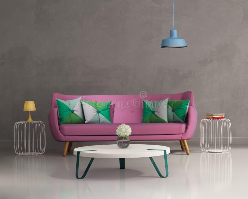 Intérieur moderne élégant rose de sofa illustration de vecteur