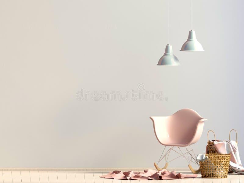 Intérieur moderne avec la chaise en plastique moquerie de mur  illustratio 3D illustration libre de droits