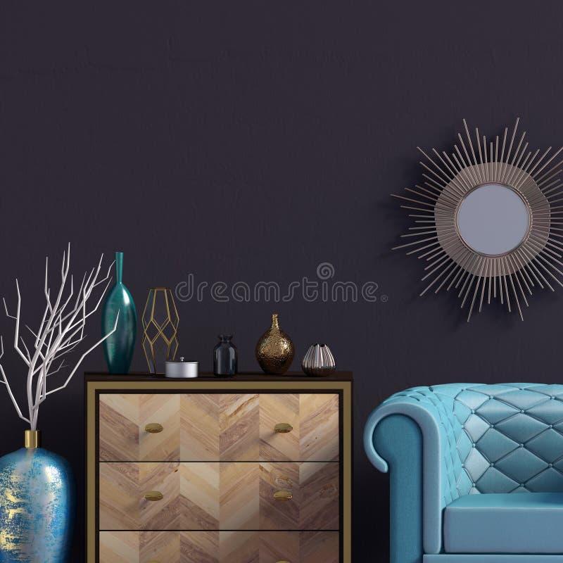 Intérieur moderne avec la raboteuse et la chaise moquerie de mur  illustr 3d illustration stock