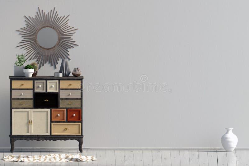 Intérieur moderne avec la raboteuse moquerie de mur  illustration libre de droits
