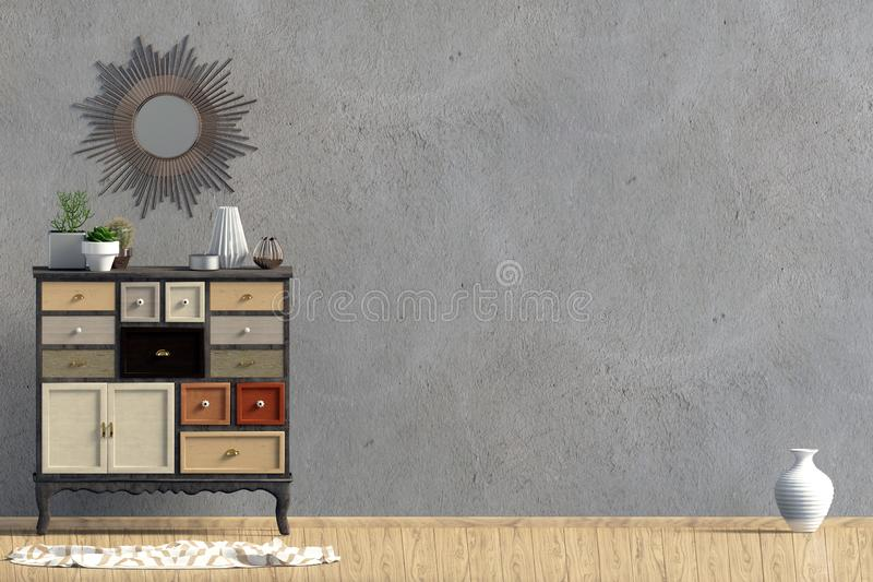 Intérieur moderne avec la raboteuse moquerie de mur  illustration de vecteur