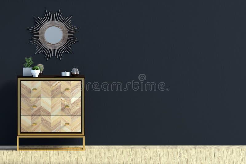 Intérieur moderne avec la raboteuse moquerie de mur  illustration stock