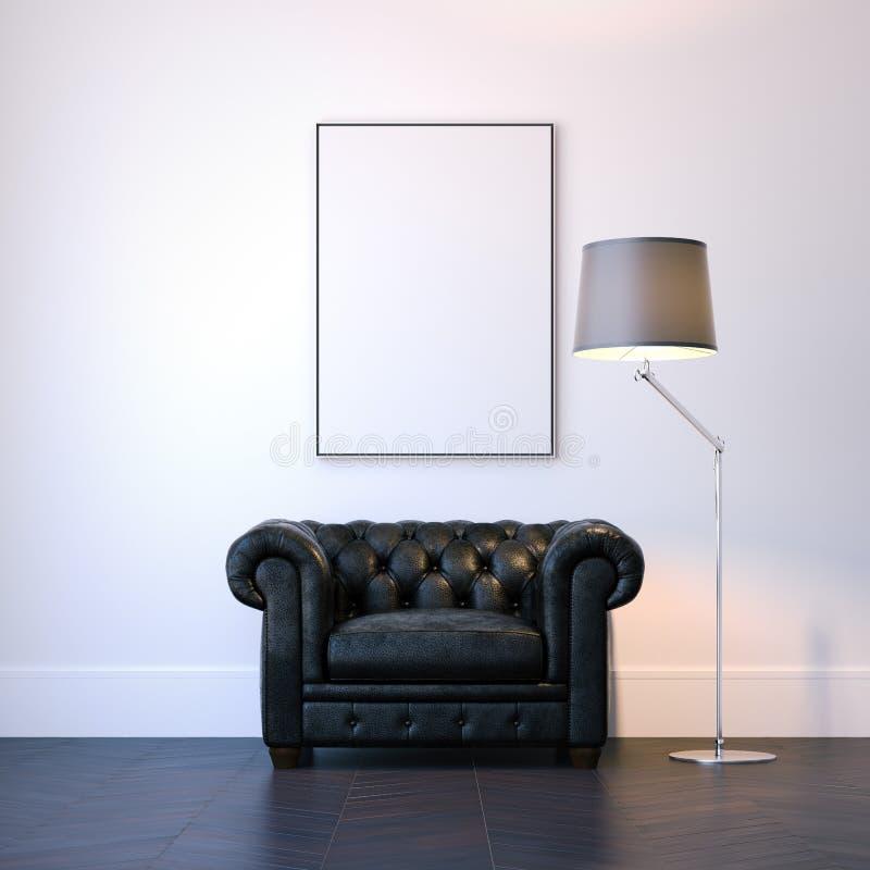 Intérieur moderne avec le fauteuil noir et le cadre de tableau vide rendu 3d illustration libre de droits